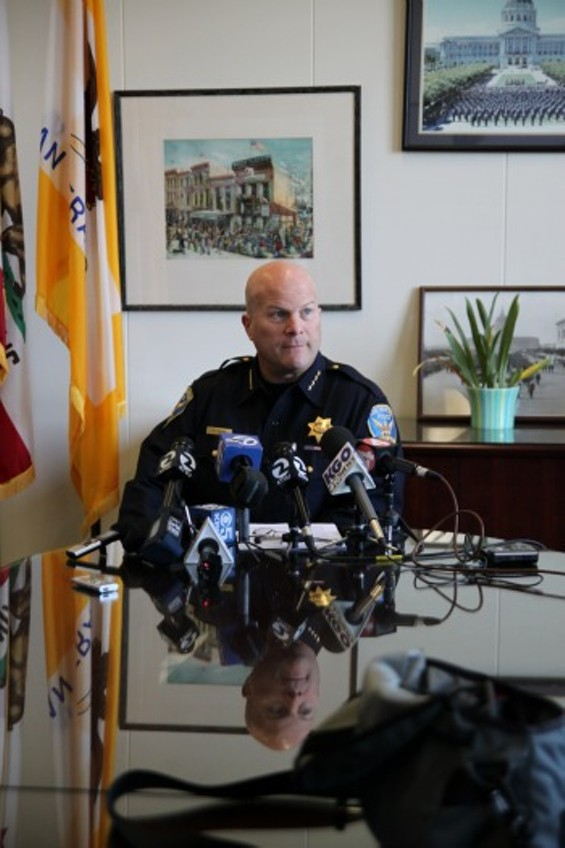 SF Police Chief Greg Suhr talks with reporters during a press conference about Richard Ramirez' death on Friday, June 7 2013. - JOSEPH GEHA
