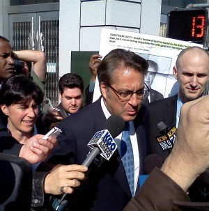 Sheriff Ross Mirkarimi outside court today