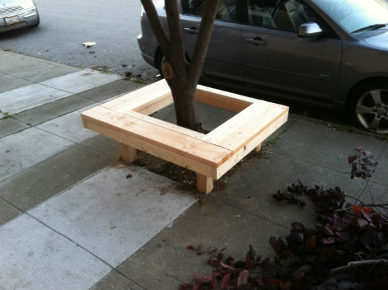 Shh, a little tree bench is being built outside. - GILBERTO SCHAEFER AND JARED HIGBEE