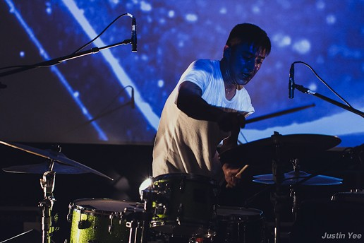 Shigeto working hard on the drums - JUSTIN YEE