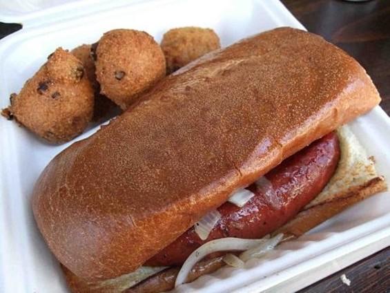 Smoked beef sausage and hush puppies. - TAMARA PALMER