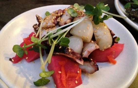 Smoked octopus with watermelon radish kimchi at a recent Liholiho Yacht Club. - ANNA ROTH