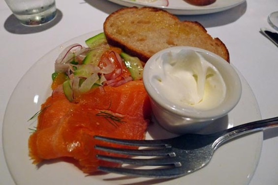 Smoked salmon, citrus-fennel salad, Meyer lemon creme fraiche & crostini