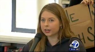 Sofie Karasek speaks at a press conference yesterday. - ABC7