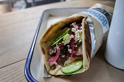 JESSICA CHRISTIAN - Souvla's meaty lamb sandwich, one of the few items on its short menu.