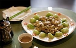 JEN SISKA - Soy on soy action: Golden knots are tofu skin stuffed with soft tofu.