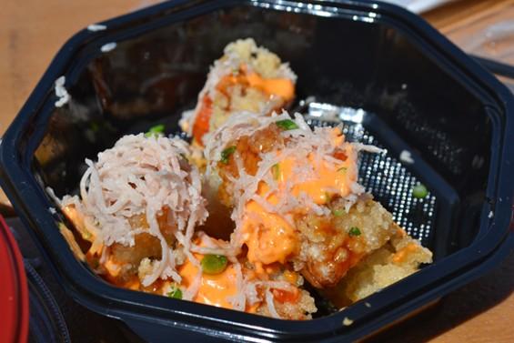 Spammy Fries: spam shavings top crispy fried sushi rice squares - ANASTASIA CROSSON