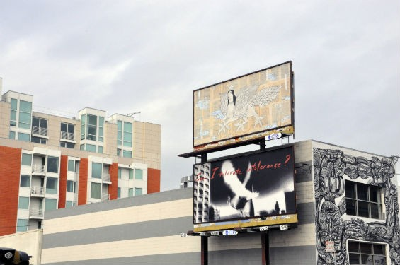 """Speak Your Peace"" also had a public art component: two billboards on display at the corner of Fourth and Brannan Streets featuring work by local artists. - PHOTO COURTSEY OF SOMARTS"