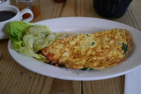 Special Omelette with Smoked Salmon, Spinach, Onions and Cheese