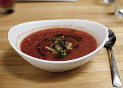 JEN SISKA - Spicy gazpacho made from heirloom tomatoes.