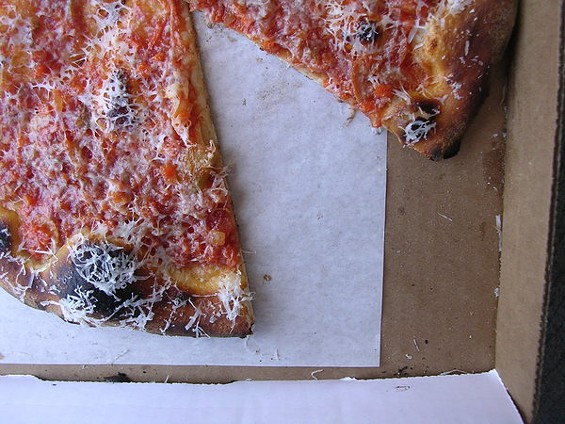 Spicy puttanesca pizza with Castelvetrano olives ($14). - JOHN BIRDSALL