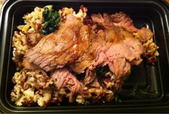 SpoonRocket's beef with Korean BBQ sauce, brown rice, and spinach - MOLLY GORE