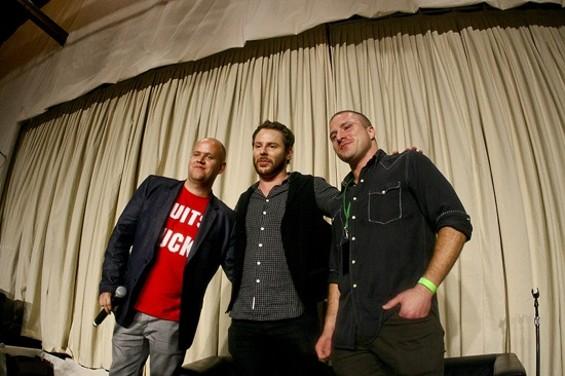 Spotify CEO Daniel Ek, Facebook President Sean Parker, and Napster Shawn Fanning (l-r)
