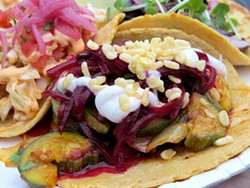 LOU BUSTAMANTE - Squash tacos: Tasty, and surprisingly healthy for food truck grub.