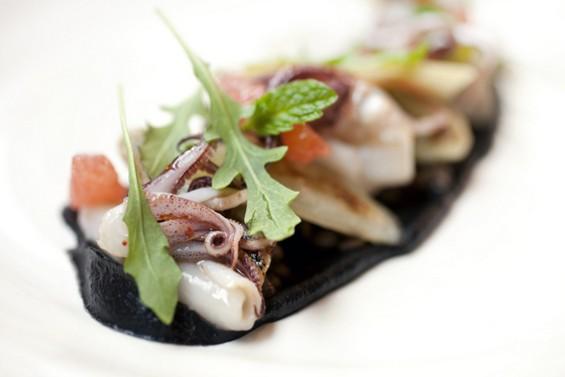 Squid with smoked lentil puree at Plum. - LARA HATA