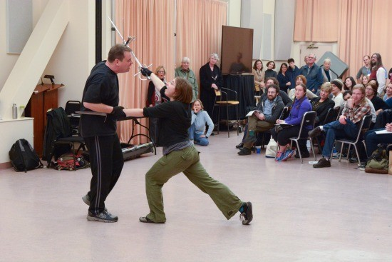 Dave Maier and Megan Messinger demonstrate fight choreography in a stage combat workshop at the San Francisco Opera on January 13. - PHOTO BY SCOTT WALL