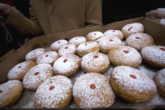 Sufganiyot, aka jelly doughnuts. - JM ROSENFELD/FLICKR