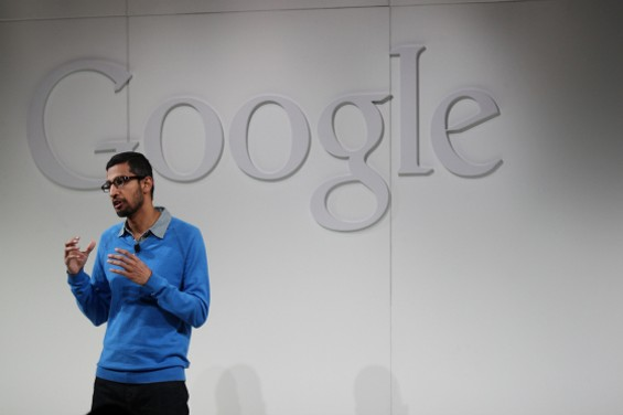 Sundar Pichai, Google SVP of Android and Chrome, speaks at the Google event in S.F. this morning. - JOSEPH GEHA