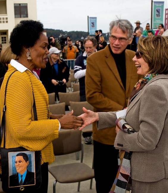 Supervisor Sophie Maxwell -- she of the Barack Obama purse -- gets a warmer reception here from Nancy Pelosi than she is currently receiving from activists in her home district - JIM HERD