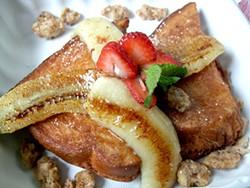 TAMARA PALMER - Sweet Maple's Big Hip, deep-fried - French toast with sautéed bananas - and candied walnuts.