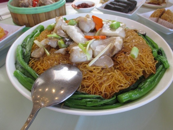 Tai Wu in Millbrae's Pan Fried Noodles with Fish. - TREVOR FELCH