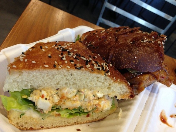 Café Terminus' Deviled Egg Sandwich and Barbeque Eggplant Sandwich - TREVOR FELCH