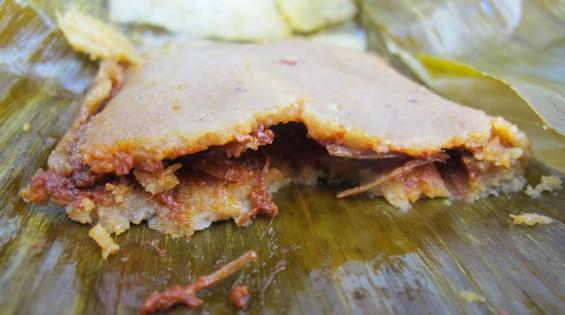 Tamales La Oaxaquena's chicken tamale, $4. - JONATHAN KAUFFMAN