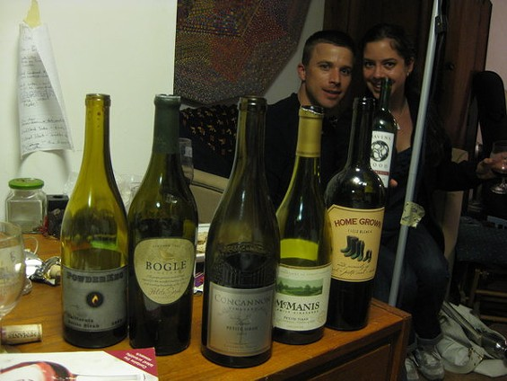 Tasting panelists Noah P. and Eleni K. strike a pose with the Petite empties. - ALASTAIR BLAND