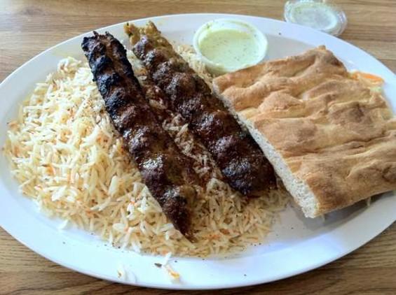 Tayyibaat's lamb chili kabob, $10.99. - JONATHAN KAUFFMAN