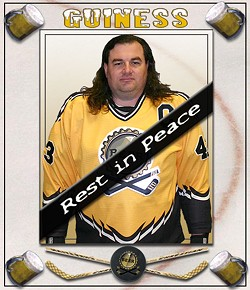 Team Beer captain Kelly Calabro was one of two men who collapsed and died playing recreational hockey at the same rink over the weekend - TEAMBEERHOCKEY.COM