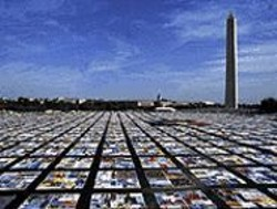 COURTESY OF THE NAMES PROJECT FOUNDATION - The AIDS quilt on display in Washington, D.C.