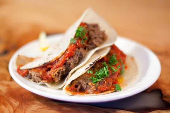 The ambrosia taco: Five kinds of meat from three species. - LARA HATA