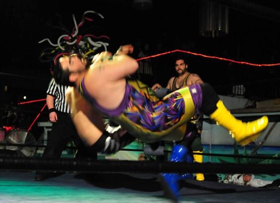 """The Angry Dragon"" Mike Hayashi vs. T-Rent (foreground) of the Suburban Commandos - SAHAR SHIRAZI"