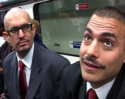 """The anticorporate tricksters on their way to a presentation on the Dow's """"Acceptable Risk"""" calculator."""