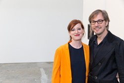 The artist and his wife Ginger Schinwald at the Wattis. - PHOTO BY DREW ALTIZER