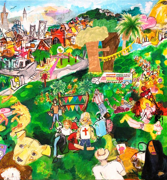 The artistsasked people in Dolores Park to draw pictures of what they thought should be included in a painting of the park. He collaged those drawings into this painting, Our Dolores Park. - TODD BERMAN, ET AL.