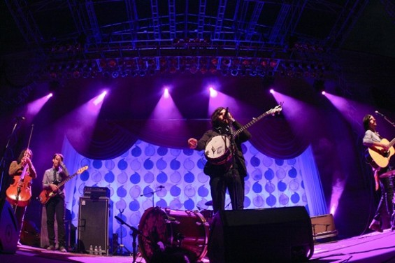 The Avett Brothers at the Greek Theatre on Saturday. - CHRISTOPHER VICTORIO