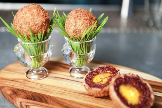 The Bergerac egg: Freezer-cured yolk wrapped in black pudding and crisped in Anchor summer beer tempura. - ALYSSA JAFFER