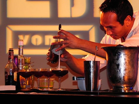 The Burritt Room's Kevin Diedrich finishing his Nocturnal Night Cap, an entry in the 42Below Cocktail World Cup regionals. - MORGAN WOOLLEY