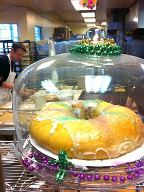 The cake comes with a plastic baby you hide in the brioche. - VALERIE LUU