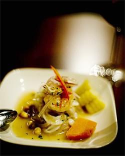 JEN SISKA - The ceviche, made of halibut, calamari, and tiger shrimp, is piled high.