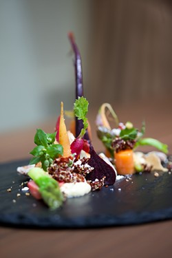 KIMBERLY SANDIE - The chef creates the illusion of an actual garden with this salad.
