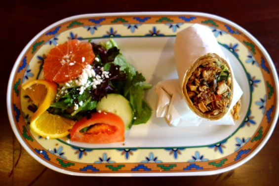"The chicken wrap on the ""Express Line to Dakar"" lunch menu at Bissap Baobab Oakland. - FERRON SALNIKER"