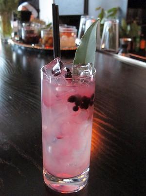 The Coastal Collins ($10.50, St. George Terroir Gin, lemon, soda, bay laurel, huckleberries) - LOU BUSTAMANTE