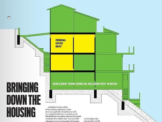 """The current structure at 125 Crown Terrace, in yellow, and the plan for a """"remodeled"""" home seven times its size - ANDREW J. NILSEN"""