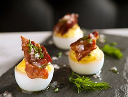MELISSA BARNES - The devil is in the details: these eggs have a dab of salsa verde on top.