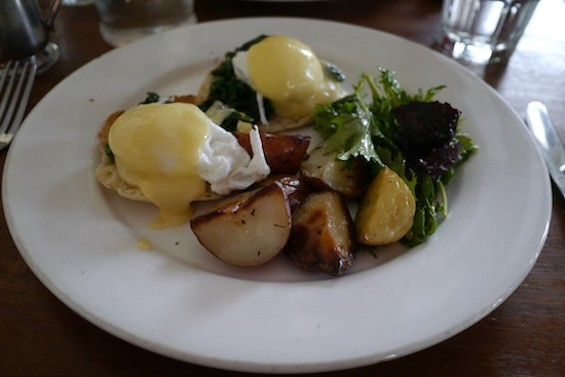 The Eggs Florentine, served with potatoes and greens