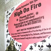 """High On Fire at Amoeba Records, SF The evening consisted of a free, tinnitus-inducing 30-minute set plus an autograph sesh. The 7-year-old band tours this Fall in support of their 4th album """"Death Is This Communion."""" Read the cd review  here. By David Downs"""