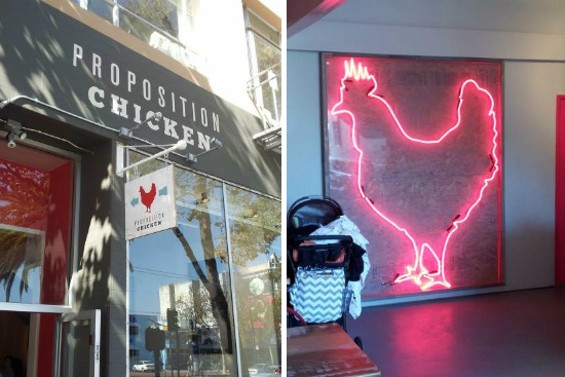 The exterior and the neon chicken-tinged interior of Proposition Chicken. - PETE KANE