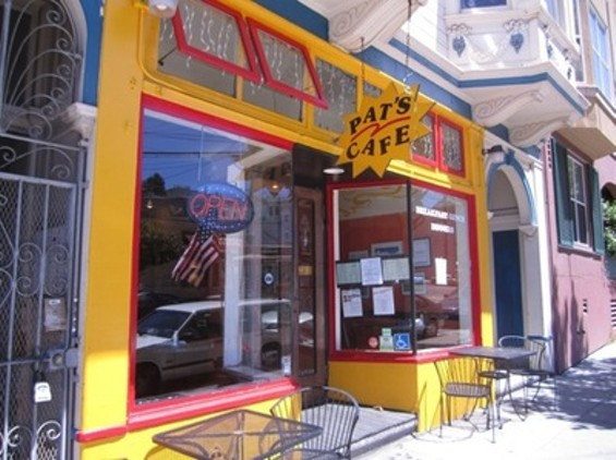 The exterior of Pat's Cafe is tough to ignore.